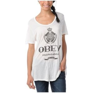 OBEY Nada Beau Natural T-Shirt Slouchy Tee [A4]